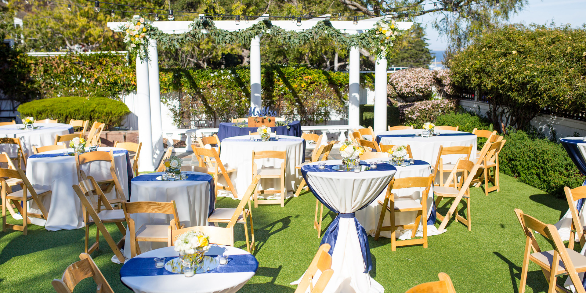 Roaming dinner set up at The Perry House Monterey Wedding Venue